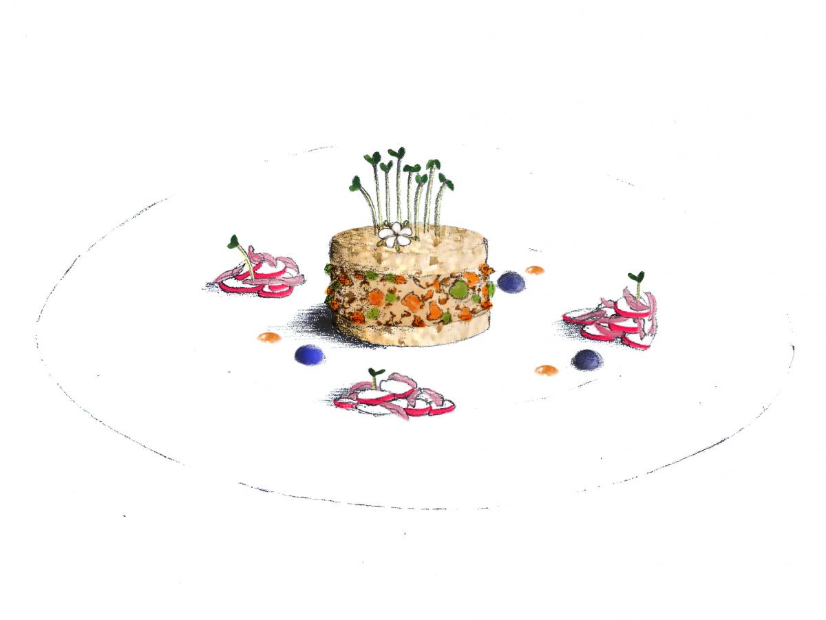Création Foie-gras-canard-mendiant-pickles-radis-fleur-de-sureau